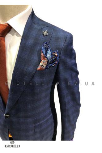 Мужской синий костюм клетка